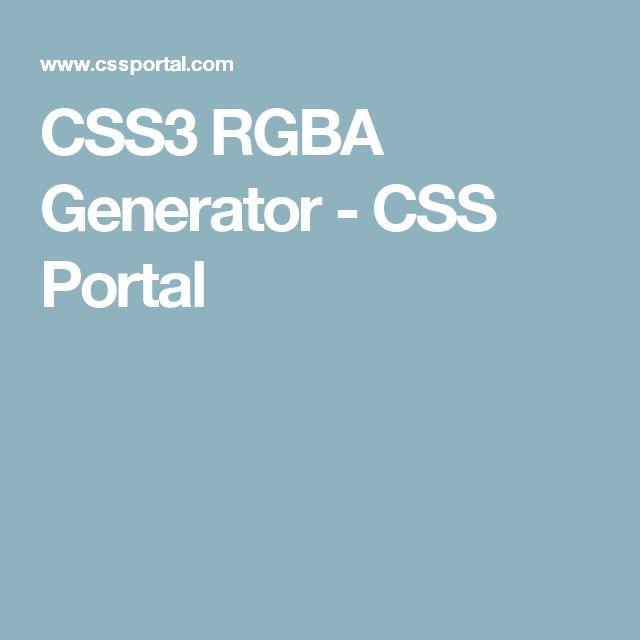 CSS3 RGBA Generator - CSS Portal