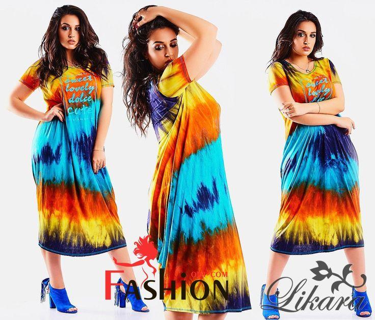 🍭1️⃣3️⃣0️⃣9️⃣руб🍭 Платье разноцвет с драпировкой сзади на подоле Мод.546 Производитель: Likkara Ткань: Вискоза Длина: Макси Размеры: универсальный (50-54). Цвета: синий, оранжевый.