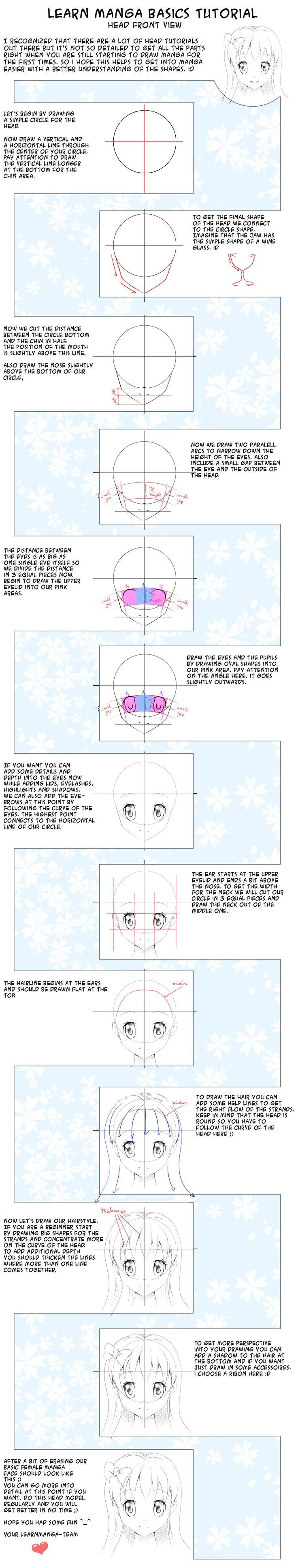 Learn Manga Basics Head Front View Tutorial by *Oceans-Art on deviantART
