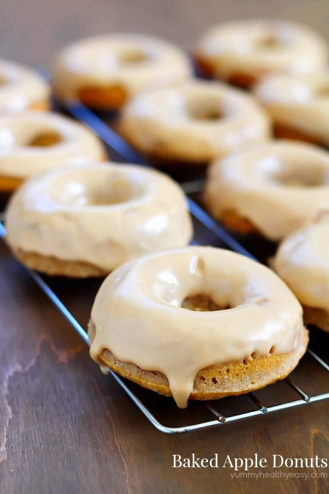 These Baked Apple Donuts with Maple Glaze are seriously the best baked ...