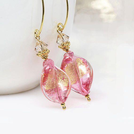 Pink Venetian Murano Glass Earrings Murano Glass Earrings