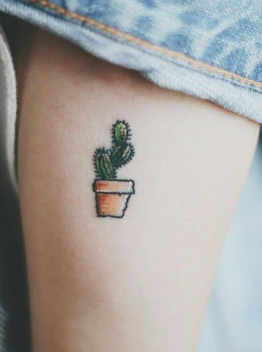 How cute is this cactus in a pot tattoo?? | http://www.hercampus.com/beauty/30-tiny-tattoo-ideas-major-inspiration