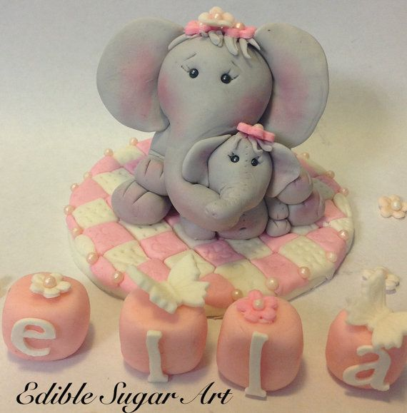 Fondant Elephant Mama and Baby Cake Toppers by EdibleSugarArt, $35.00