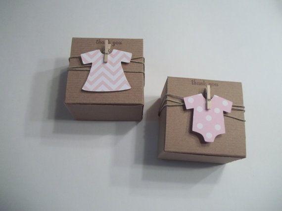 Baby doll dress Baby Shower onesie dress favor box chevron soft pink onesie  3x3x2 NEW