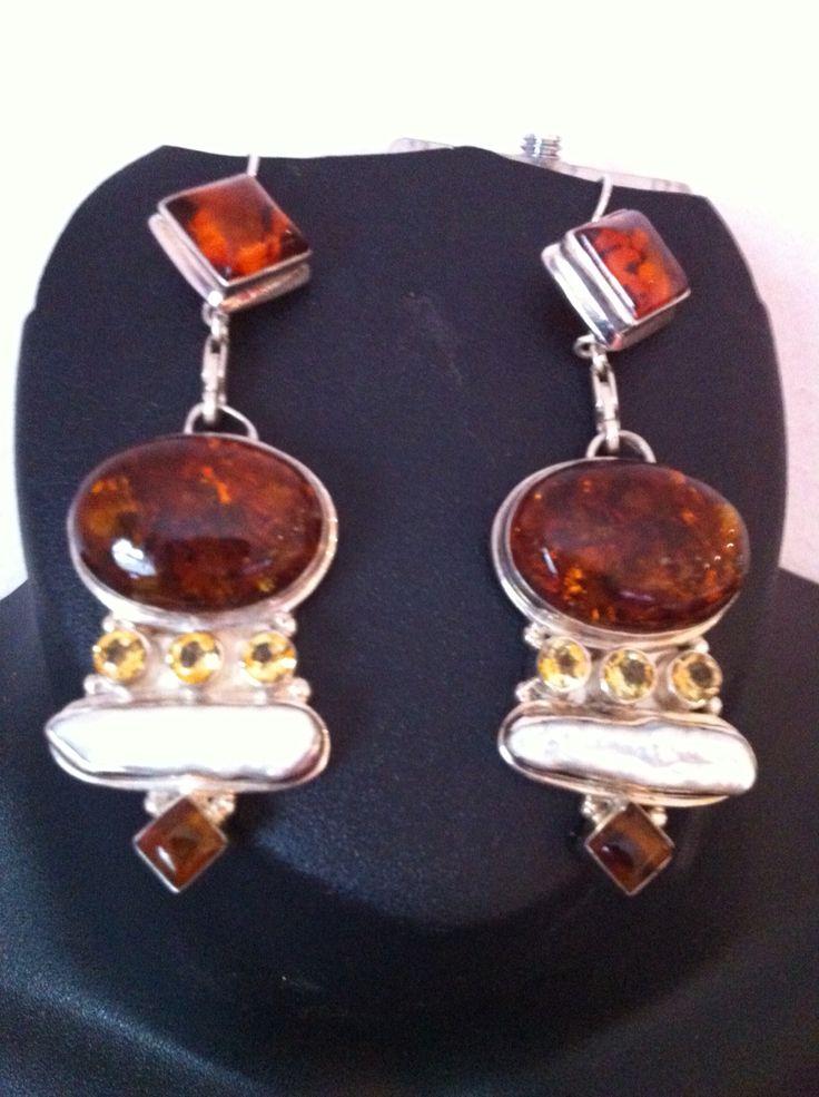 Brown earrings in sterling silver