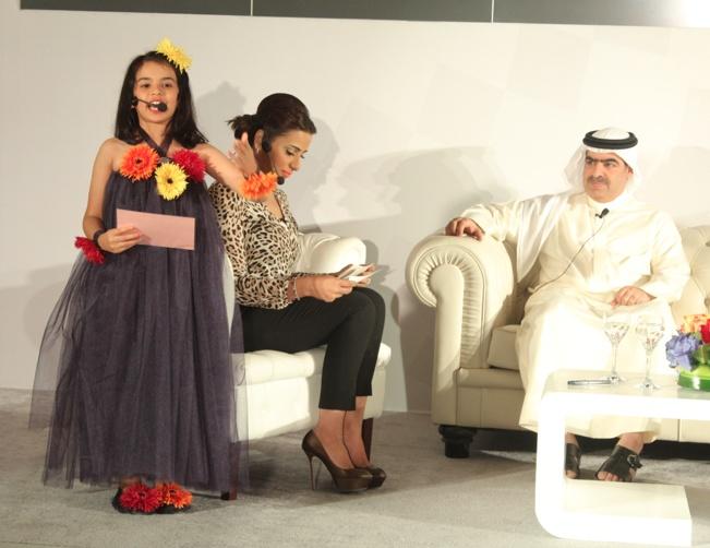Noor Ebrahim Al-Busmait reciting a poem about sports achievements