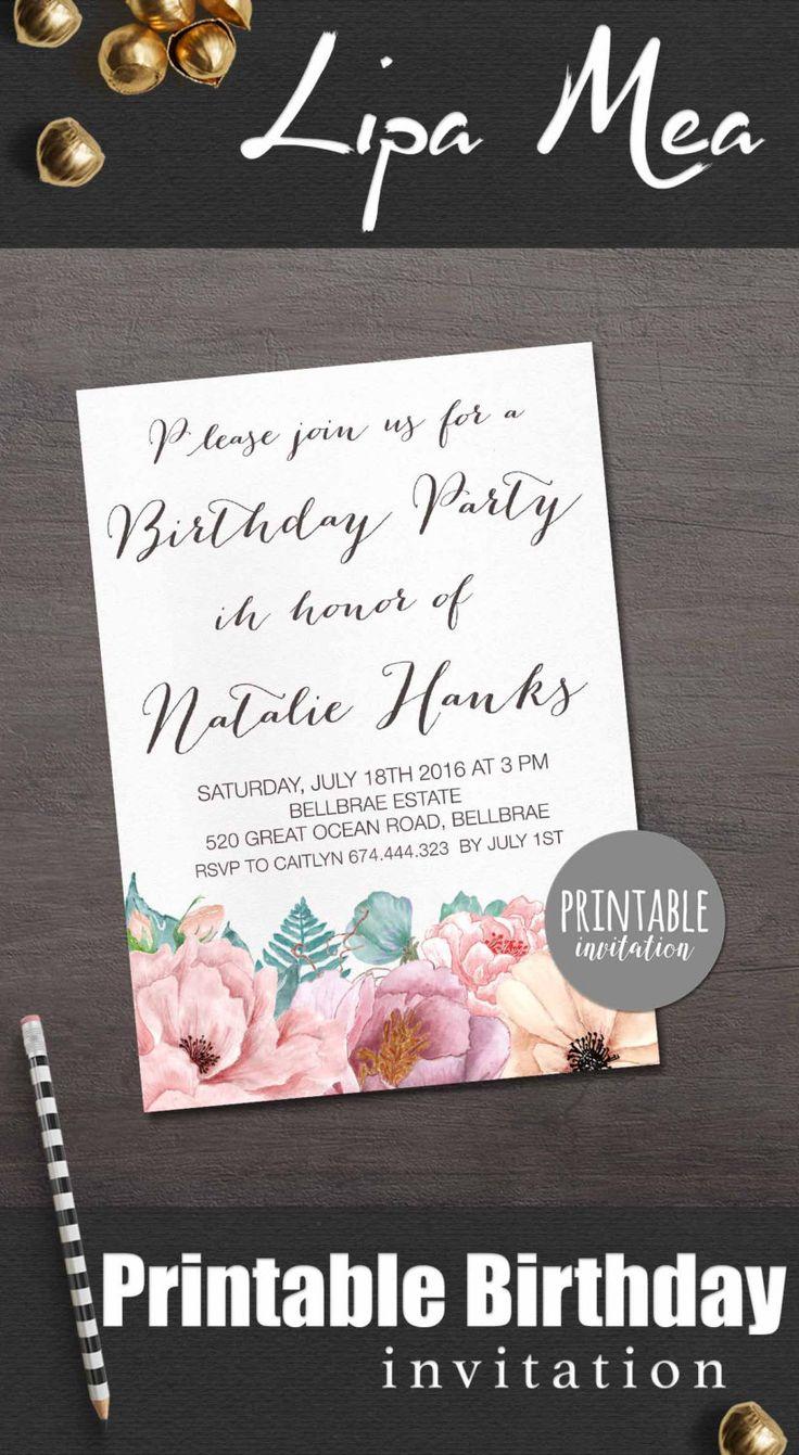 Floral Birthday Invitation Printable, Birthday Party Invitation, Boho Birthday Invitation, Women Birthday Invitation, Adult Birthday Invite - pinned by pin4etsy.com