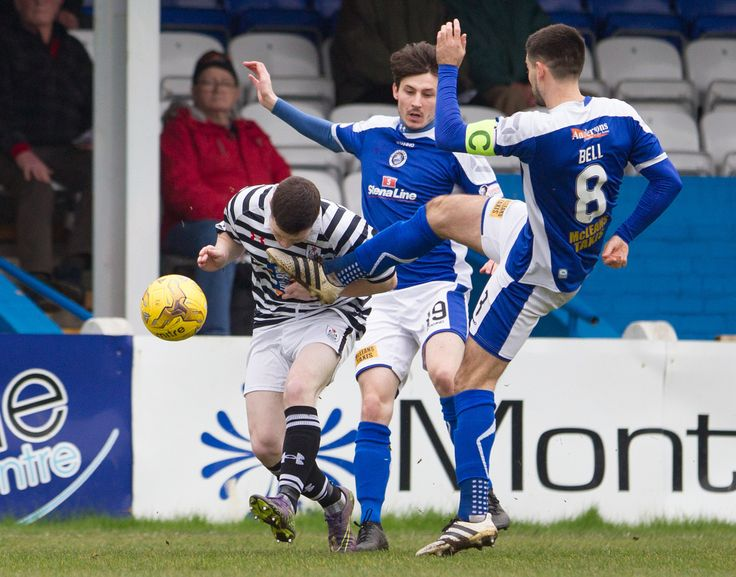 Queen's Park's Conor McVey puts his head into the danger zone during the Ladbrokes League One game between Stranraer and Queen's Park.
