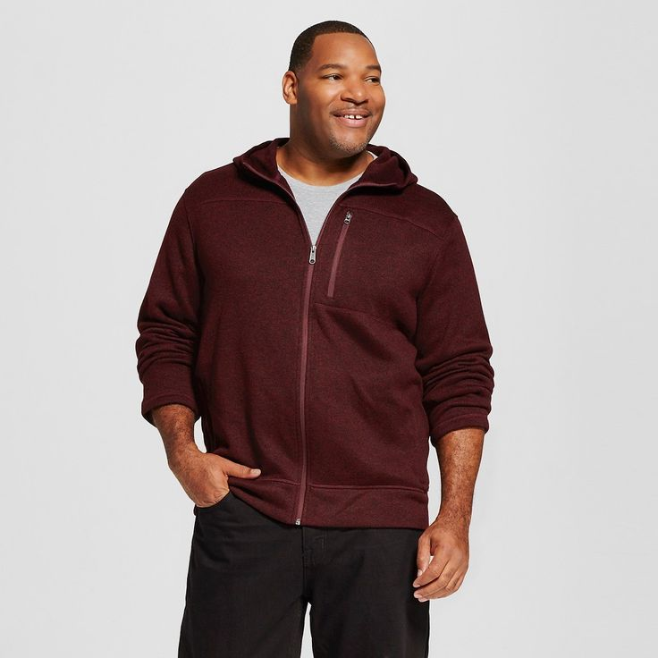 Men's Big & Tall Sweater Fleece Hoodie Red Xxxl Tall - Merona