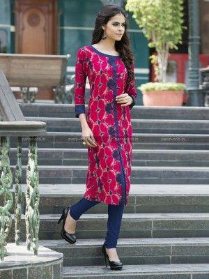 Pink N Blue Rayon Cotton Trendy Designer Kurti