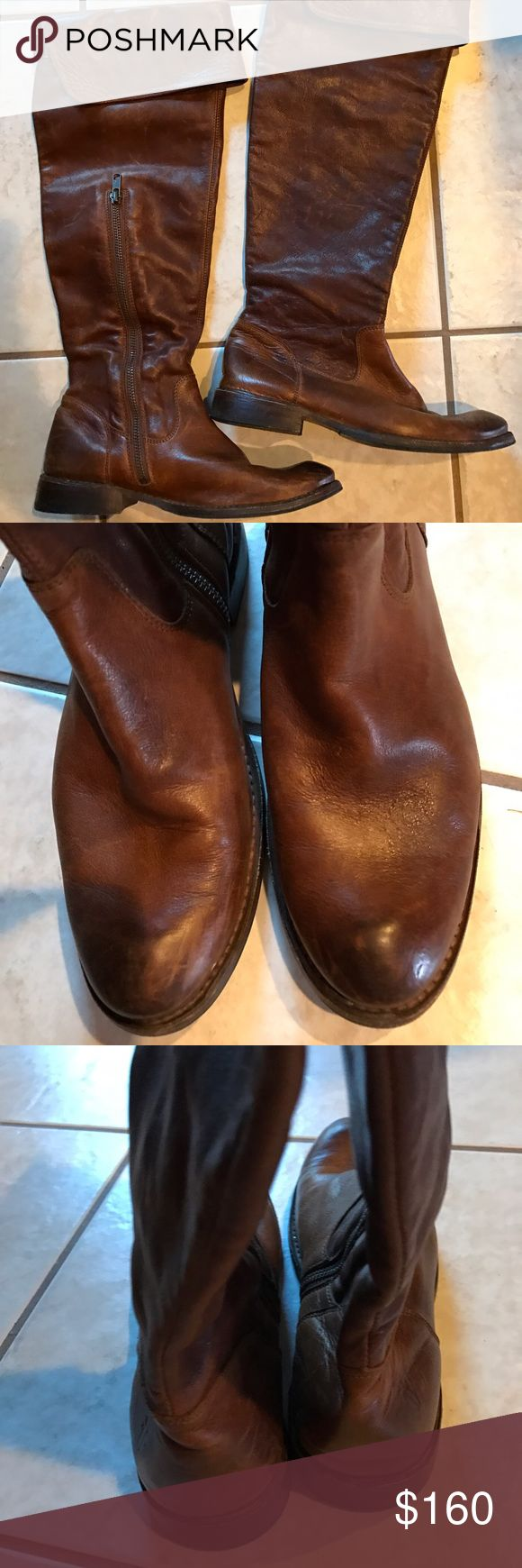 Frye tall brown boots Tall brown leather frye boots. Worn only a handful of times. In good condition! Size 7 Frye Shoes Over the Knee Boots