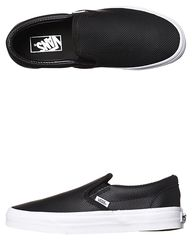 VANS CLASSIC SLIP ON PERF LEATHER SHOE - BLACK on http://www.surfstitch.com
