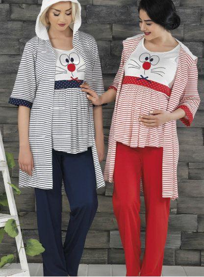 3'lü Hamile Sabahlık & Pijama Takımı #hamile #hamilegiyim #hamilesabahlık http://www.pijama.com.tr/lohusa-pijama