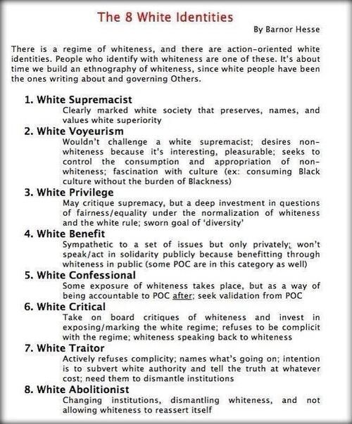 """maymay: """" """" The 8 White Identities by [Associate Professor of African American Studies, Political Science, and Sociology] Barnor Hesse There is a regime of whiteness, and there are action-oriented white identities. People who identify with whiteness..."""