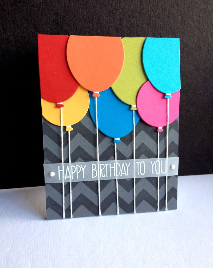 The secret for these thick balloons is to die cut each one twice and glue them together! The chevron patter has also been die cut and layered over the solid background color.