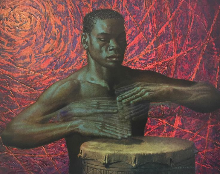 "Tretchikoff's 'African Drummer': ""The viewer senses the rhythmic intoxication as the drummer beats out the language of the drums, which could spell danger, or –a dance."" – Tretchikoff by Howard Timmins"