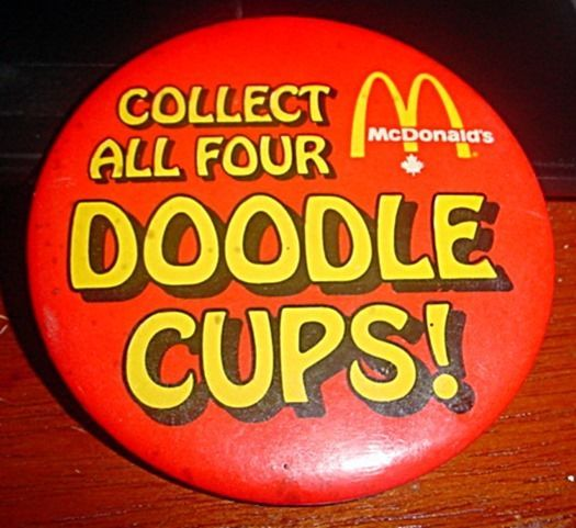 Mcdonalds Collect all four Doodle Cups Button Pin #Mcdonalds
