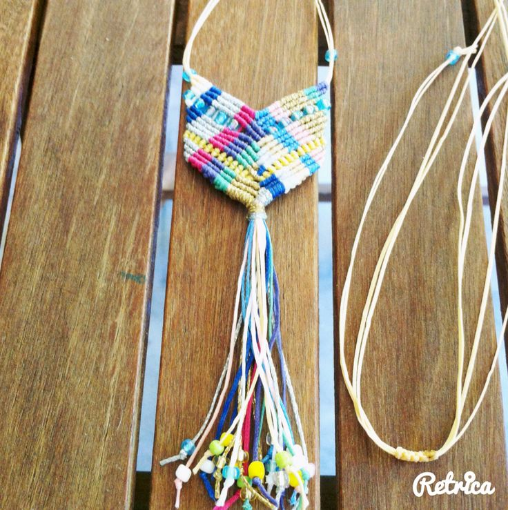 Multicolor micromacrame boho chevron necklace.