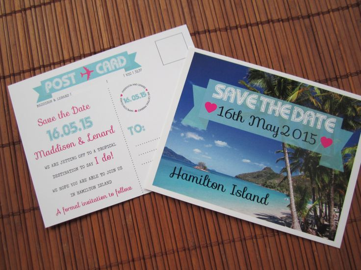 Save the date postcard #Hamilton Island Wedding #fiji wedding #hawaii wedding #bali wedding