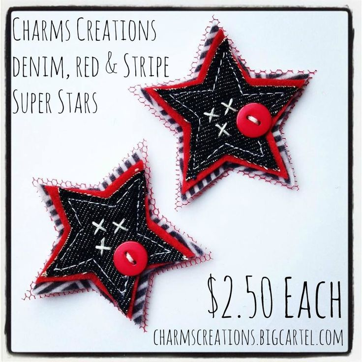 Denim, Red & Stripe Super Stars / Charms Creations
