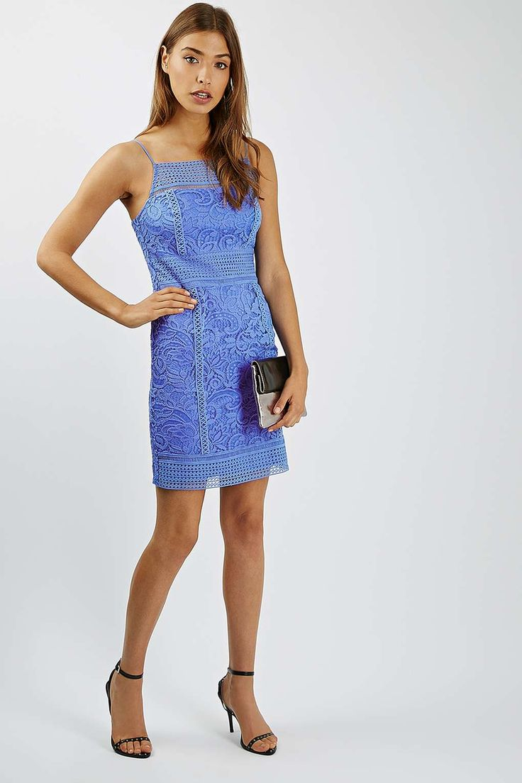 Opt for a classic look with this bodycon mini dress. We love the crochet trim detail and striking blue for a playful, boho vibe.