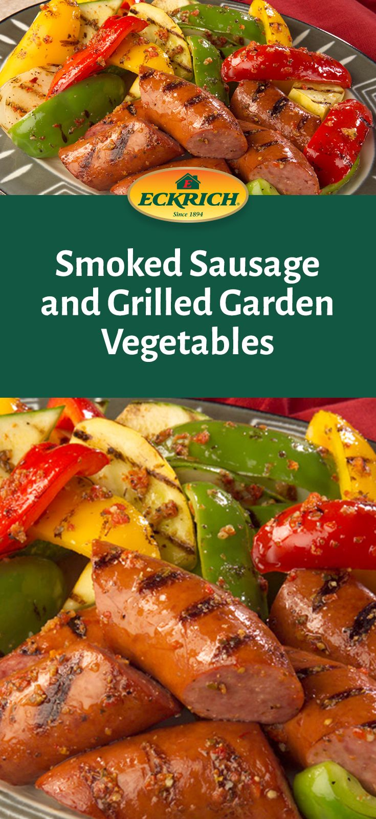 Eckrich Smoked Sausage and Grilled Garden Vegetables is the perfect addition to any summertime party. It's the perfect blend of naturally hardwood smoked flavoring with grilled bell peppers, summer squash, zucchini and onions. #4thofJuly #IndependenceDay #PartyTips #SmokedSausage #Vegetables #GrillingSeason #Recipe