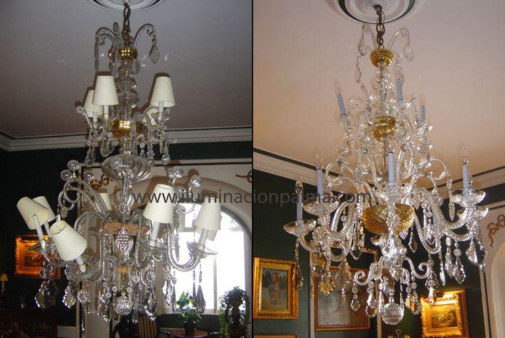 Restauración de lámparas antes y despues