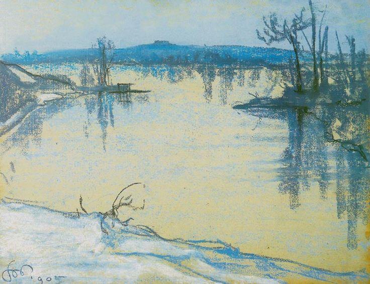 """Stanisław Wyspiański (Polish 1869–1907) """"Vistula River near Cracow"""", 1905, pastel, 48 x 62 cm, National Museum, Cracow."""