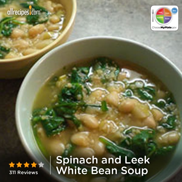 Spinach and Leek White Bean Soup from Allrecipes.com #grain #veggies #protein