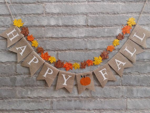 HAPPY FALL Burlap banner Fall banner fall by Sunshineatheart