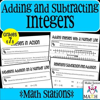 FREE! These integers math stations are perfect to engage students in analyzing integers.  Students will develop a deep understanding of adding and subtracting integers after completing these math stations.There are four math stations.  Adding Integers with a Number Line: students will write integer problems given a problem modeled on a number line.