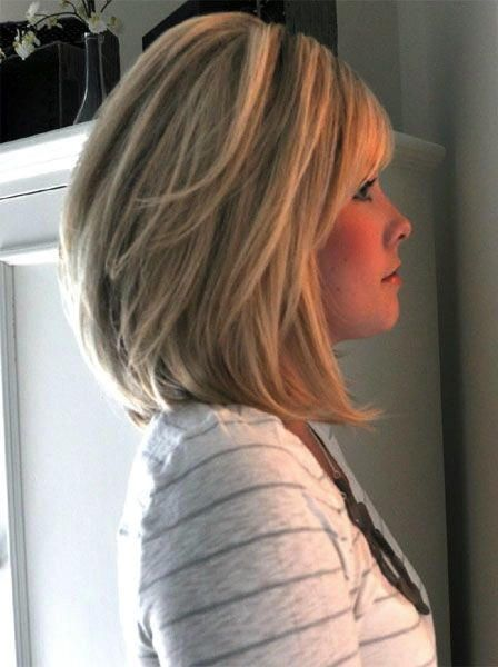 Mid Length Blonde Stacked Bob Thick Hair Styles Hair