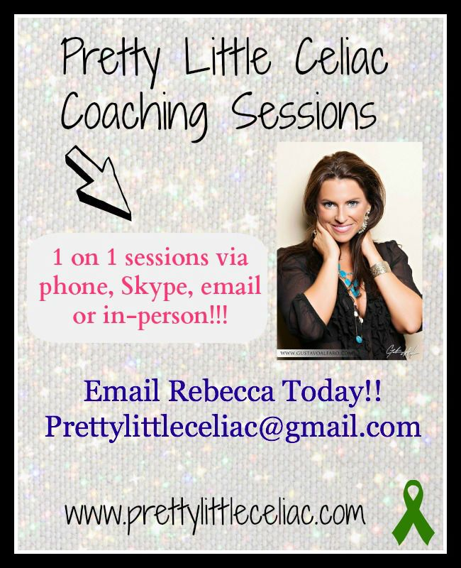 Are you struggling with gluten-free living or celiac disease? Rebecca Black can help. She is now offering a limited amount of coaching sessions via in-person, phone, Skype or email! Check out her amazing website dedicated to gluten-free living and celiac disease and how she can help make your life easier. www.prettylittleceliac.com
