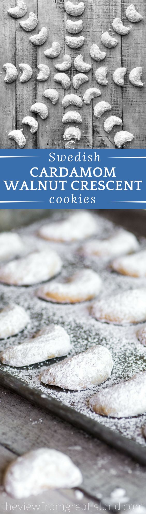 Cardamom Walnut Crescent Cookies ~ these classic Swedish Christmas cookies  are made with a buttery shortbread dough jam packed with walnuts and a hint of warm cardamom. #cookies #Christmascookies #Swedishcookies #Cardamom #walnuts #shortbread #Shortbreadcookies #holidaycookies #cookieswap #crescentcookies #snowballcookies