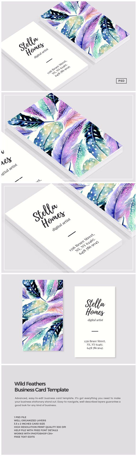 166 best business cards images on pinterest business card design wild feathers business card template by the design label on creativemarket reheart Gallery