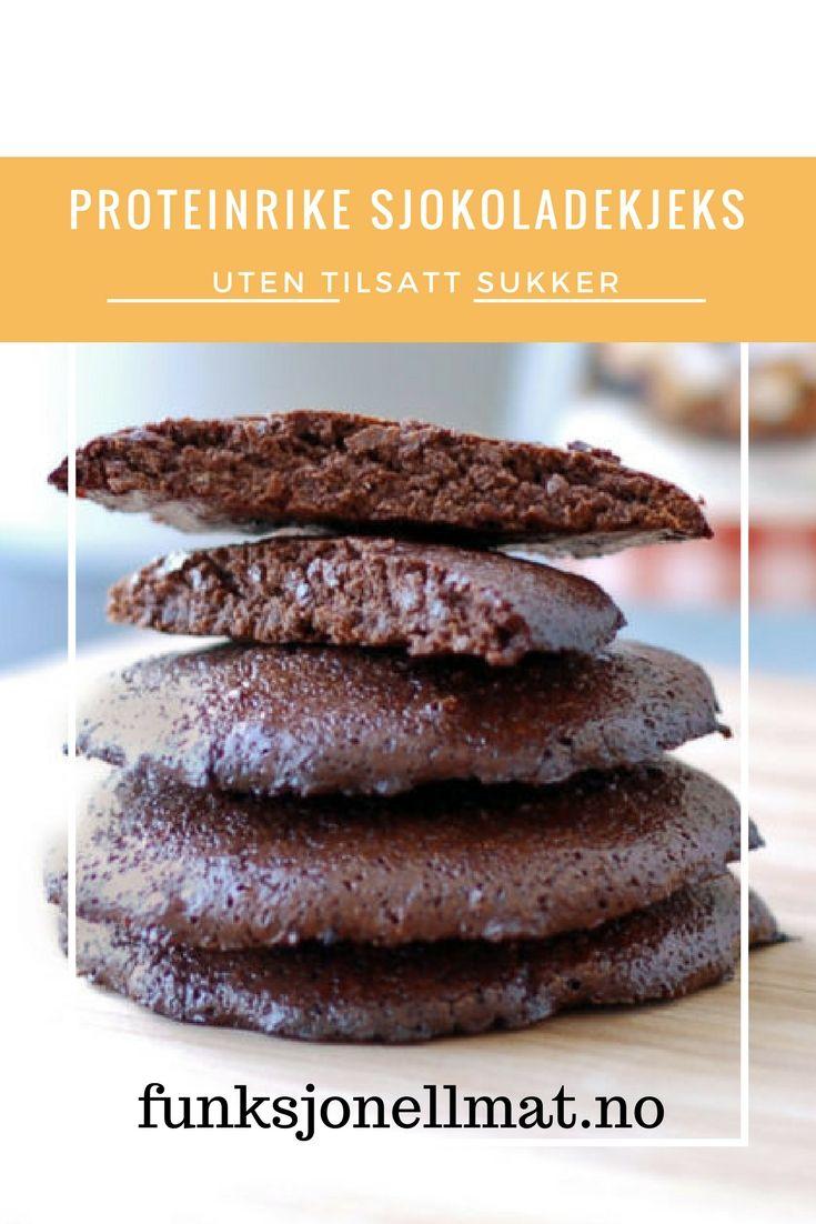 Proteinrike sjokoladekjeks - Funksjonell Mat | Dessert sjokolade | Oppskrift kjeks | Sunne kjeks | Oppskrift uten sukker | Chocolate cookies | Sugar free cookies