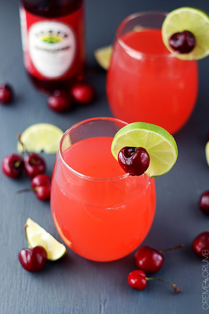 Fresh cherry limeade - a sweet and tangy summertime drink for cooling off those hot afternoons!