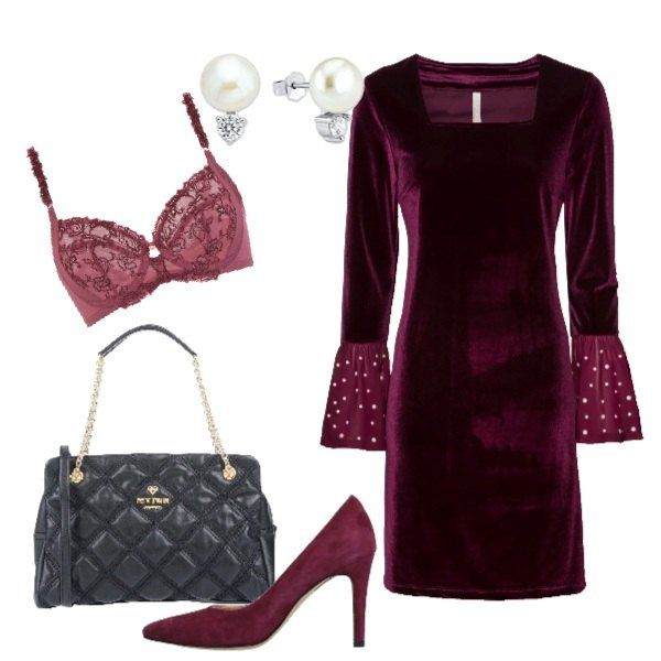 fb37b7940f Splendido vestito in velluto liscio in un attuale color prugna ...