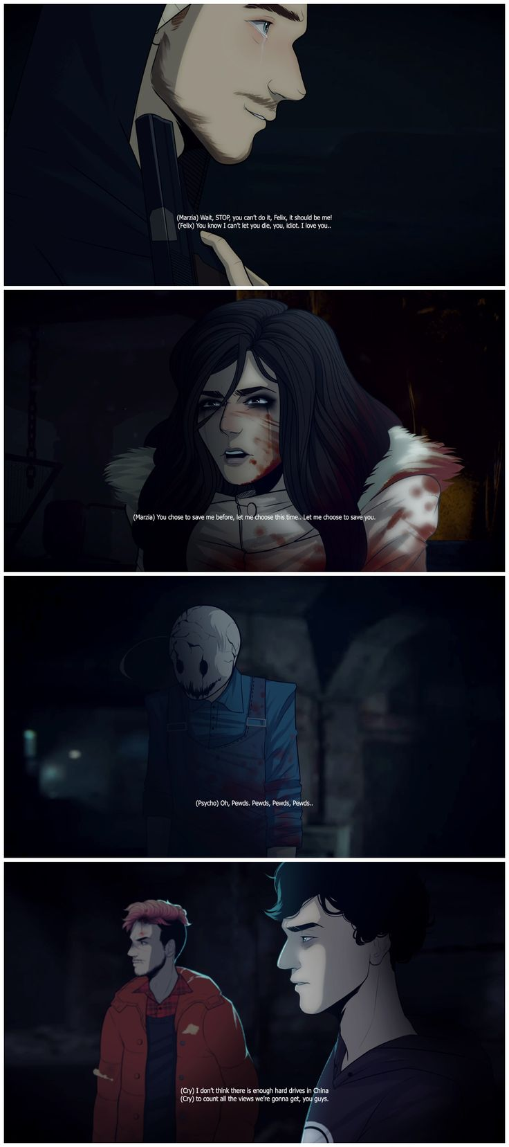 Until Dawn - Pewdiepie, CutipieMarzia, Cryaotic, Markiplier, and KickthePj #AU #game #blood