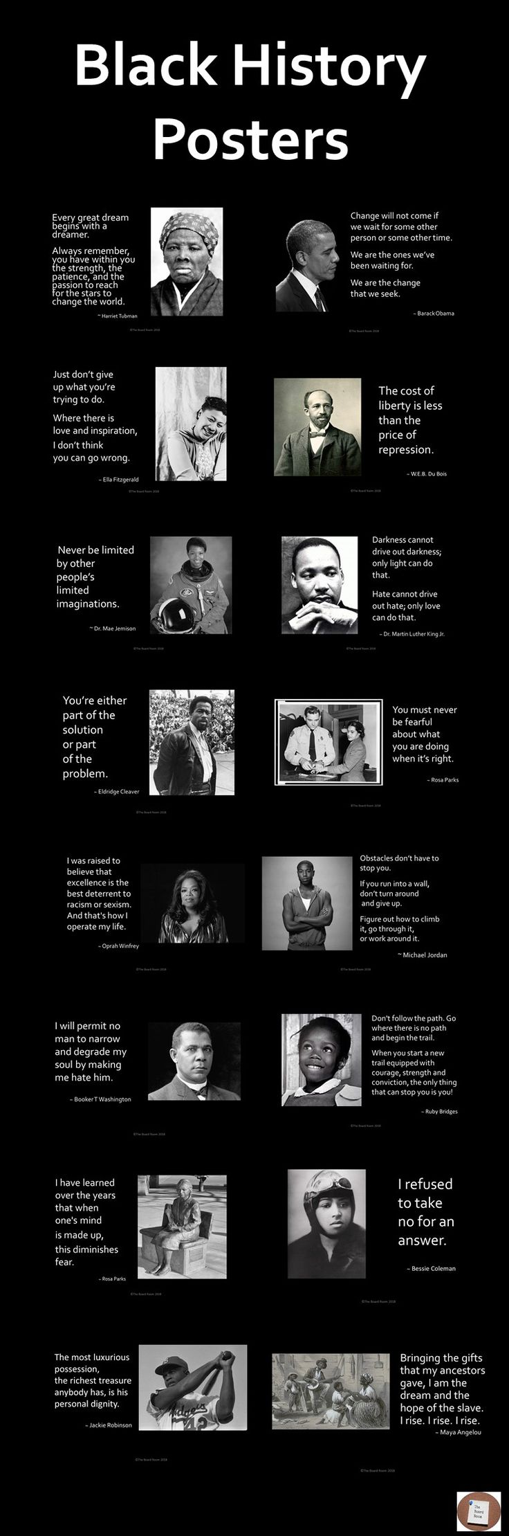 Celebrate Black History Month with 34 inspirational quote posters from influential African American people. This resource is a powerful tool to use in your classrooms, and can stimulate many interesting and inspiring topics and discussions with students about the challenges of people of color through history, including modern day heroes. They will help promote critical thinking, diversity awareness, personal reflection and character education.