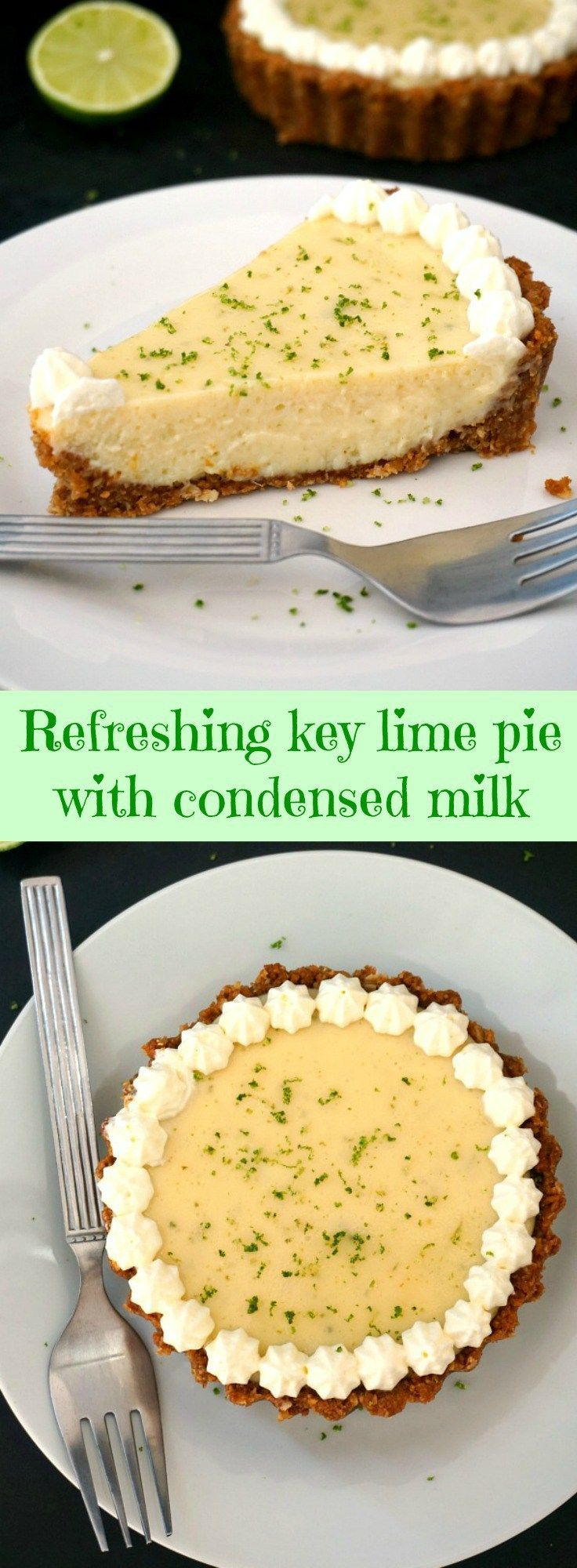 Refreshing key lime pie with condensed milk and whipped cream, a fabulous dessert with a silky filling and a crumbly biscuit crust.
