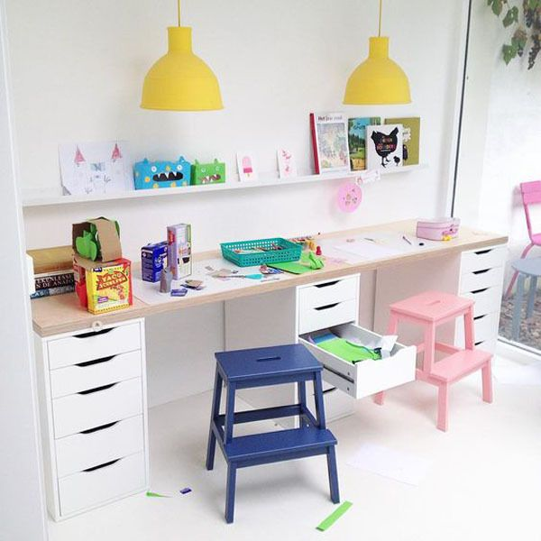 In love with these bright colours for a kids workspace