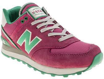 New Balance womens pink 574 suede & mesh trainers on shopstyle.co.uk