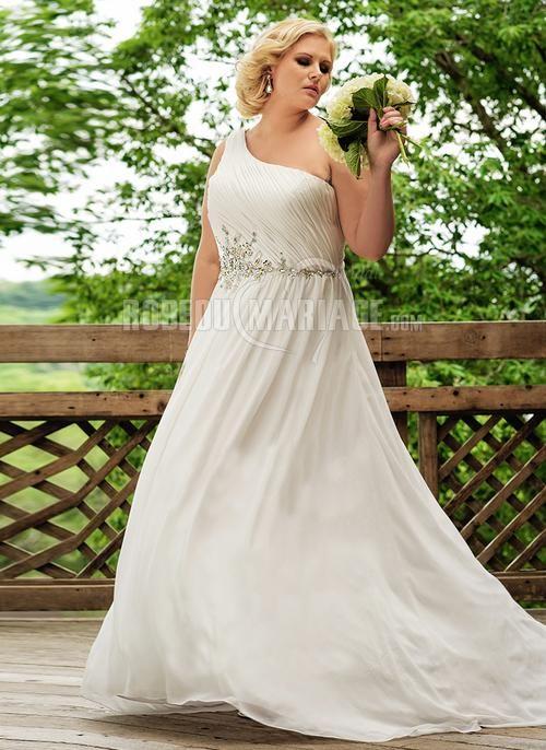 Robe de mariée grande taille épaule asymétrique applique chiffon [#ROBE209992] - robedumariage.com