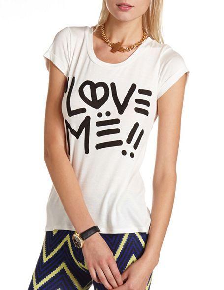 """Love Me"" Graphic Hi-Low Tee: Charlotte Russe"