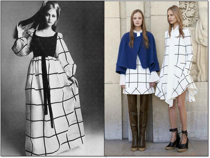 Слева: Vogue. Великобритания. Май 1966 г. Модель: Ингрид Боулдинг (Ingrid Boulding). Фотограф: Дэвид Монтгомери (David Montgomery). Справа: Платья от Клоэ (Chloé ). Осень-зима 2014/15 гг. #Chloe #fashion #fashioninspiration #style #60s #1960s #SperanzaFirsace