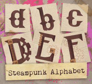 """Steampunk Alphabet (Design Pack) design (UTP1155) from UrbanThreads.com 1.30""""w x 1.02""""h 15 March 2013"""