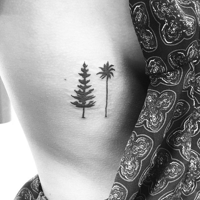 Cali grown, Southern belle. Thank you @michele_win - kickass at UNC! @frank_eighthelement @eighthelementtattoo #eighthelementtattoo #pinetree #pinetreetattoo #palmtree #palmtreetattoo