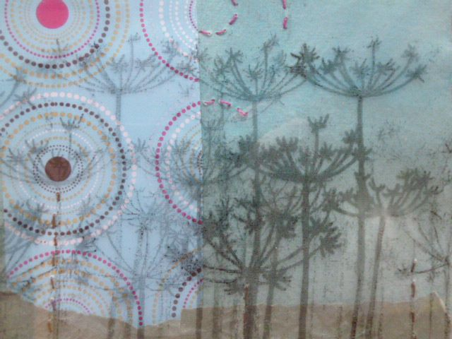 paper and fabric collage with thermofax screen printing and machine stitching