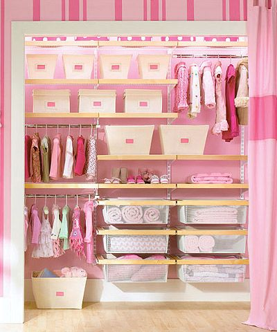 Tips for Baby's Closet*****Standard closets are notorious for their inefficient use of space — that's even more painfully obvious when planning for a baby's closet.  Widely spaced shelves and closet rods leave a lot of wasted space when storing newborn clothing, baby gear and accessories. Follow these smart tips to get your closet ready for baby.